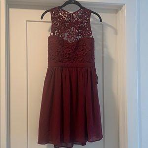 Beautiful burgundy lace skater dress.